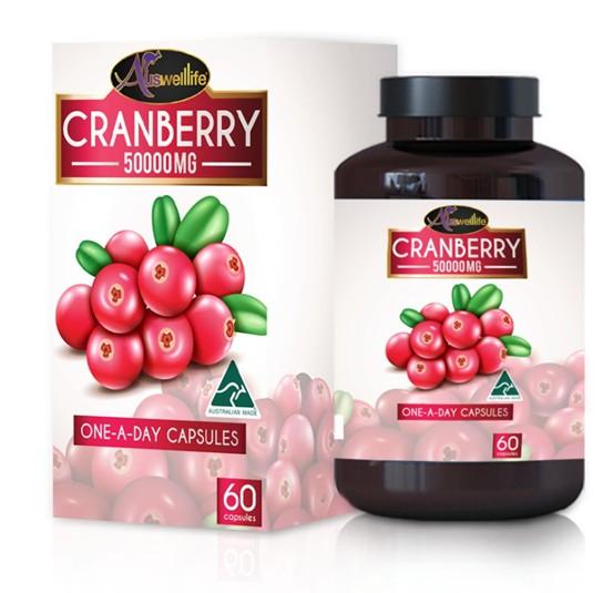 อาหารเสริม AuswellLife Cranberry แครนเบอร์รี่ 50,000 mg.2 กระปุก 120 แคปซูล
