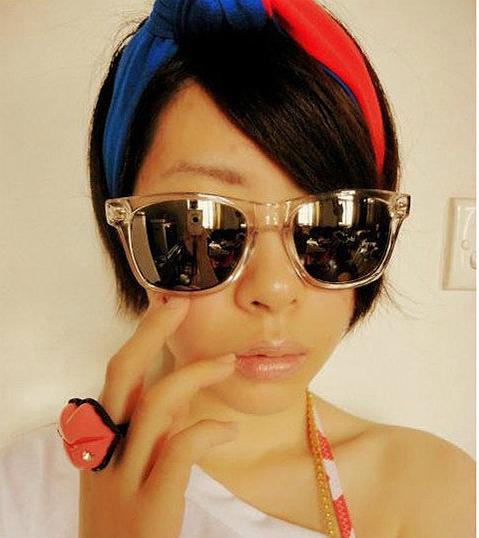 แว่นตากันแดดแฟชั่นเกาหลี กรอบขาวใสเลนส์ปรอทสีทอง
