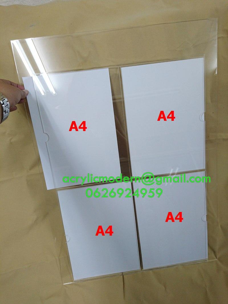 กรอบประชาสัมพันธ์สอดกระดาษ A4 แบบ 4 ช่อง ไม่มีโลโก้