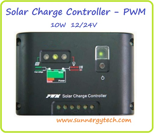 ตัวควบคุมการชาร์จแบตเตอรี่ แบบ PWM ขนาด 10A 12/24V (C)