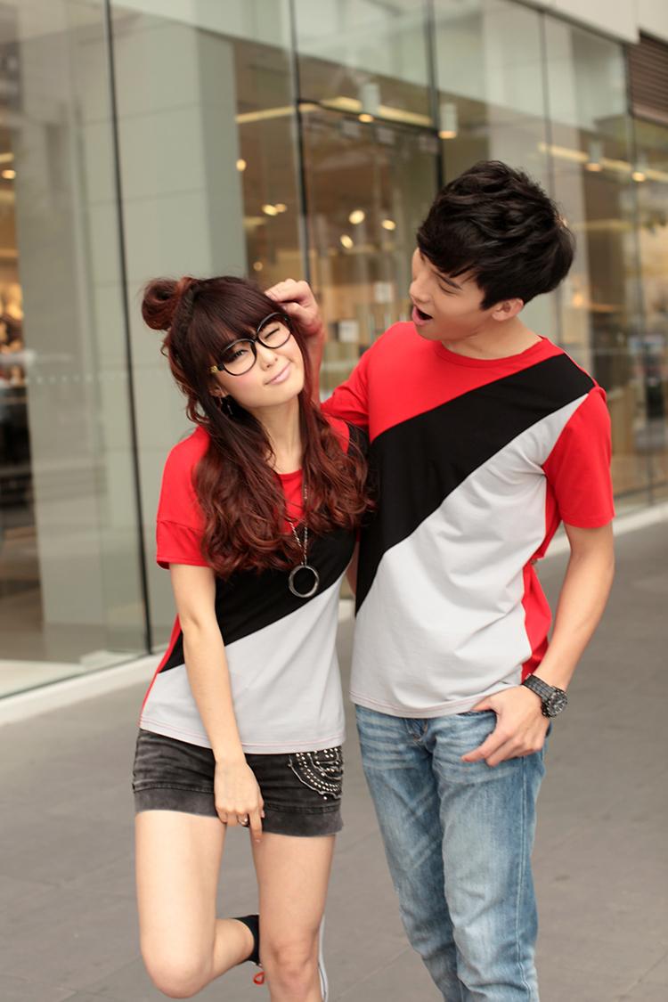 เสื้อยืดคู่รัก แดงดำ ลายทะแยงสุดเท่ห์