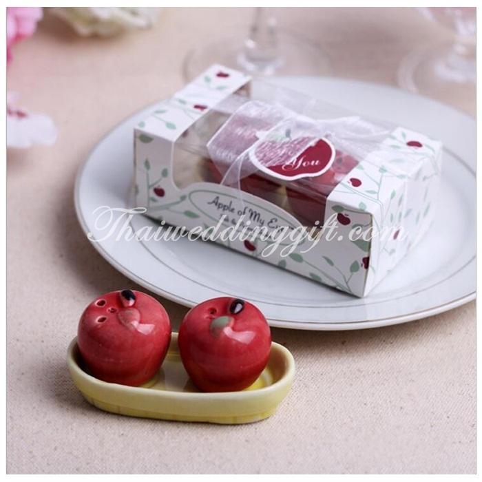 แอปเปิ้ลคู่ ใส่เกลือพริกไทย แพ็คกล่อง ผูกโบว์ ตามแบบ (นำเข้า)