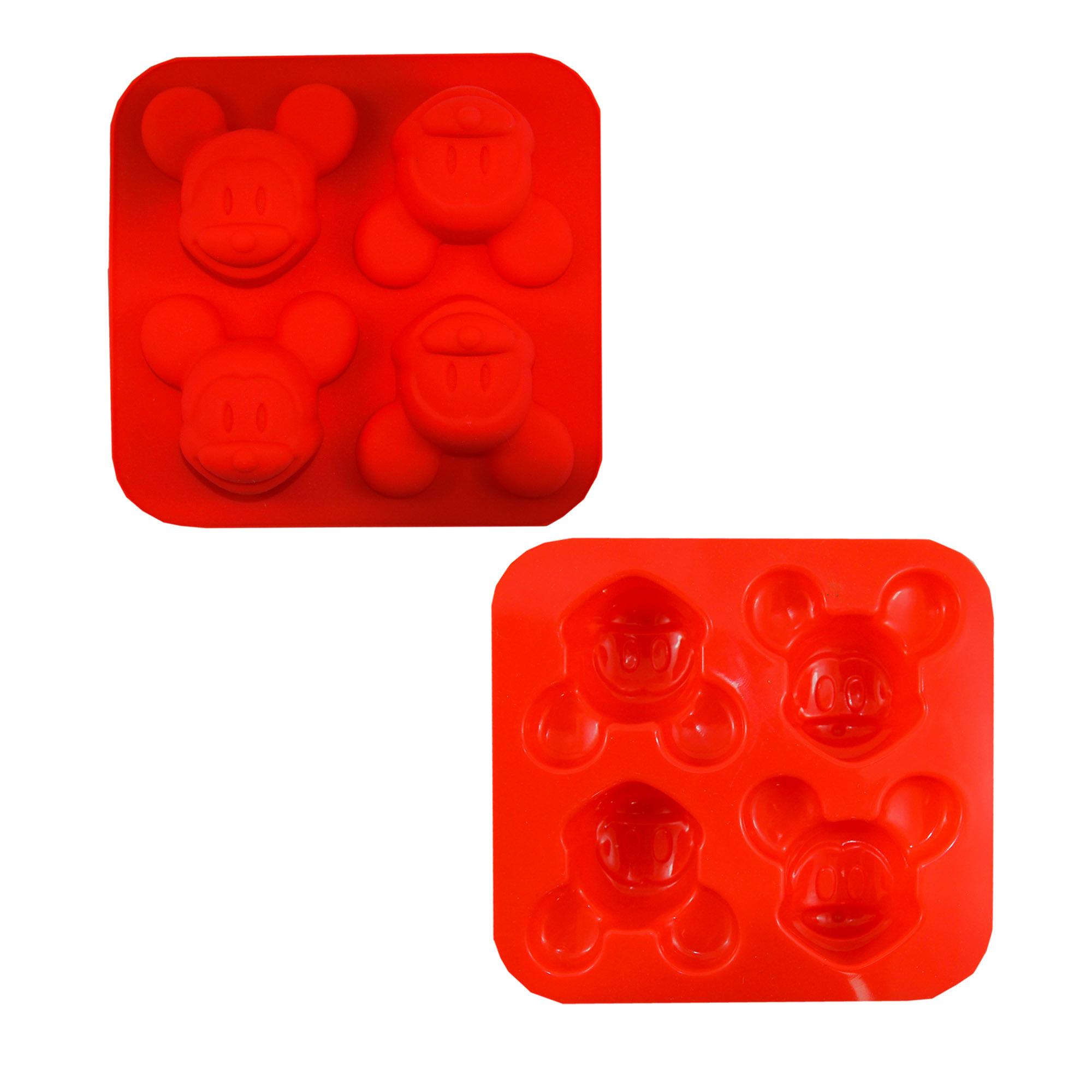 พิมพ์ซิลิโคนลายหน้าMicky mouse แดง 4 หลุม