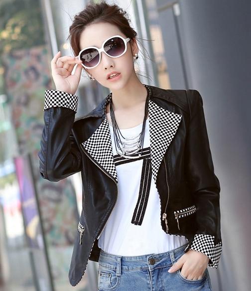 เสื้อแจ็คเก็ต เสื้อหนังแฟชั่น พร้อมส่ง สีดำ ดีเทลคอปกและแขนพับ ลายตาราง สุดเท่ห์