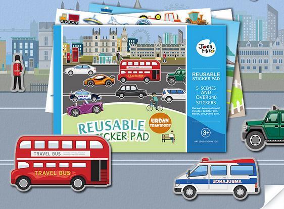Joan Miro Reusable sticker pad - Urban Transport