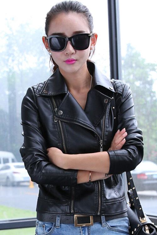 เสื้อแจ็คเก็ต เสื้อหนังแฟชั่น พร้อมส่ง สีดำ คอปก ดีเทลด้วยปกโฉบเฉี่ยว แต่งด้วยซิบรูด สุดเท่ห์