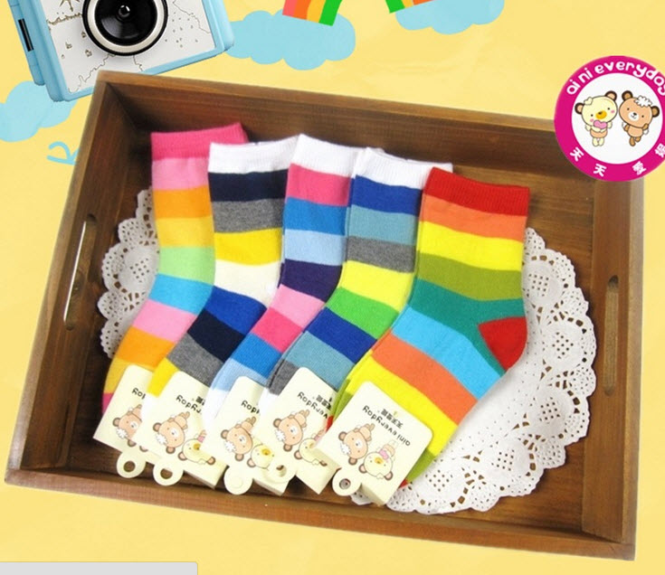 **ถุงเท้าลายขวาง aini aini (5-8ปี) | คละสี | 5-8 ปี | 10คู่/แพ๊ค | เฉลี่ย 20/คู่