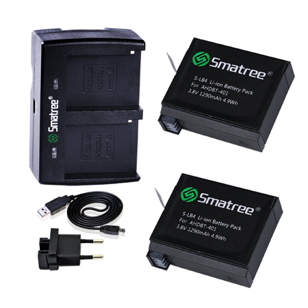 Smatree Charger GoPro 4-2 Set kit 1290mAh 2 Channel Hero4 (5 pcs) Kit Set