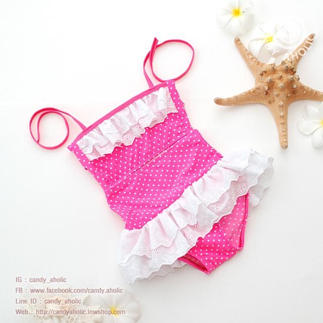 ชุดว่ายน้ำเด็ก สีชมพูลายจุด มีระบายเป็นลูกไม้สีขาวสองชั้น