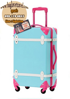 กระเป๋าเดินทางวินเทจ รุ่น colorful ฟ้าคาดชมพู ขนาด 24 นิ้ว
