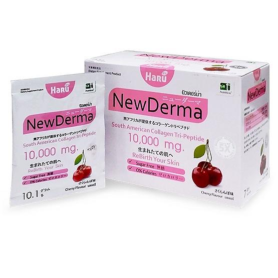 HARU New Derma (ฮารุ นิวเดอร์ม่า) อาหารเสริมบำรุงผิว ซุปเปอร์ไฮแอดวานซ์ คอลลาเจนไตรเปปไทด์ 10,000 มก. 100% 1 กล่อง บรรจุ 7 ซอง
