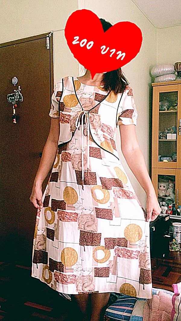 Dress สั้นสไตส์วินเทจ สีแดงลายวินเทจ สวยสีสดใส ราคา 200 บาท