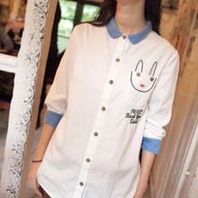 GW5712007 เสื้อเชิ้ตสาวเกาหลี สีขาวแต่งการ์ตูน น่ารัก (พรีออเดอร์)รอสินค้า 3อาทิตย์หลังโอนเงิน