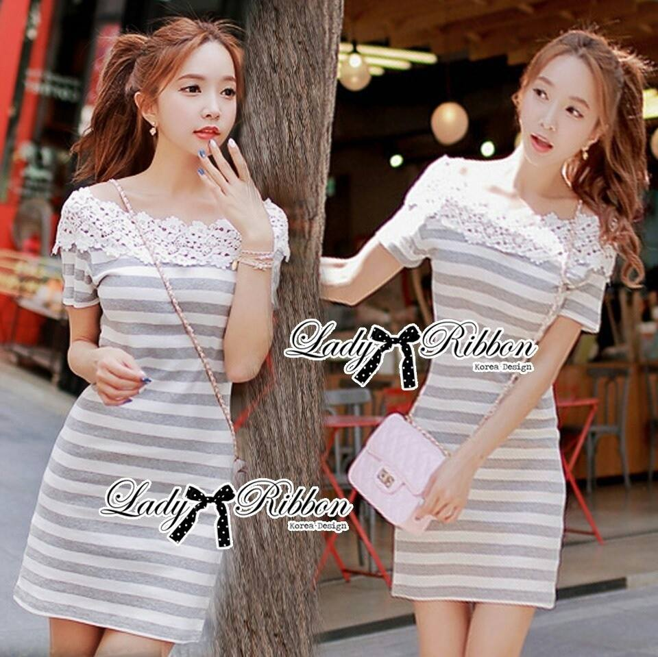DR-LR-122 Lady Cherline Smart Casual Striped Lace Dress