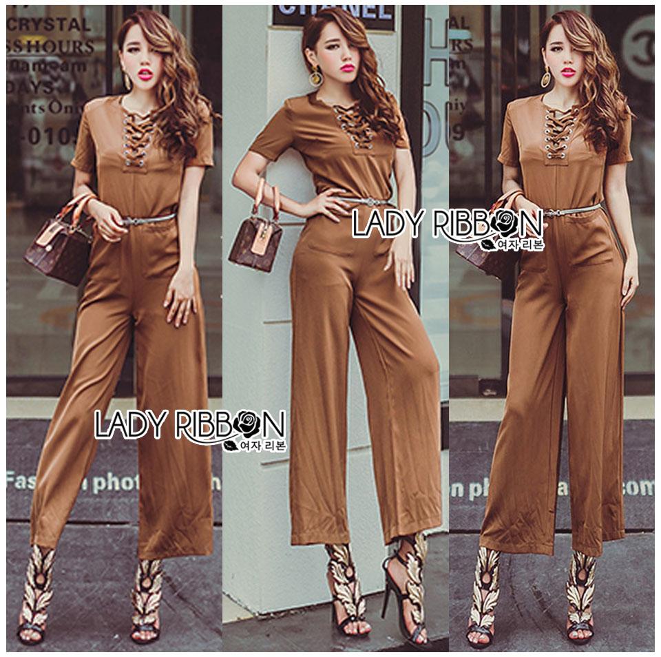 Lady Lyla Modern Minimal Chic Lacy Camel Jumpsuit L258-7905