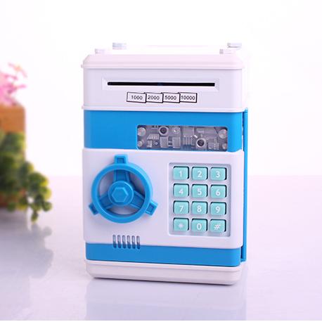 KA007 กระปุกออมสิน ตู้เซฟ ดูดเงินอัตโนมัติ สีฟ้า