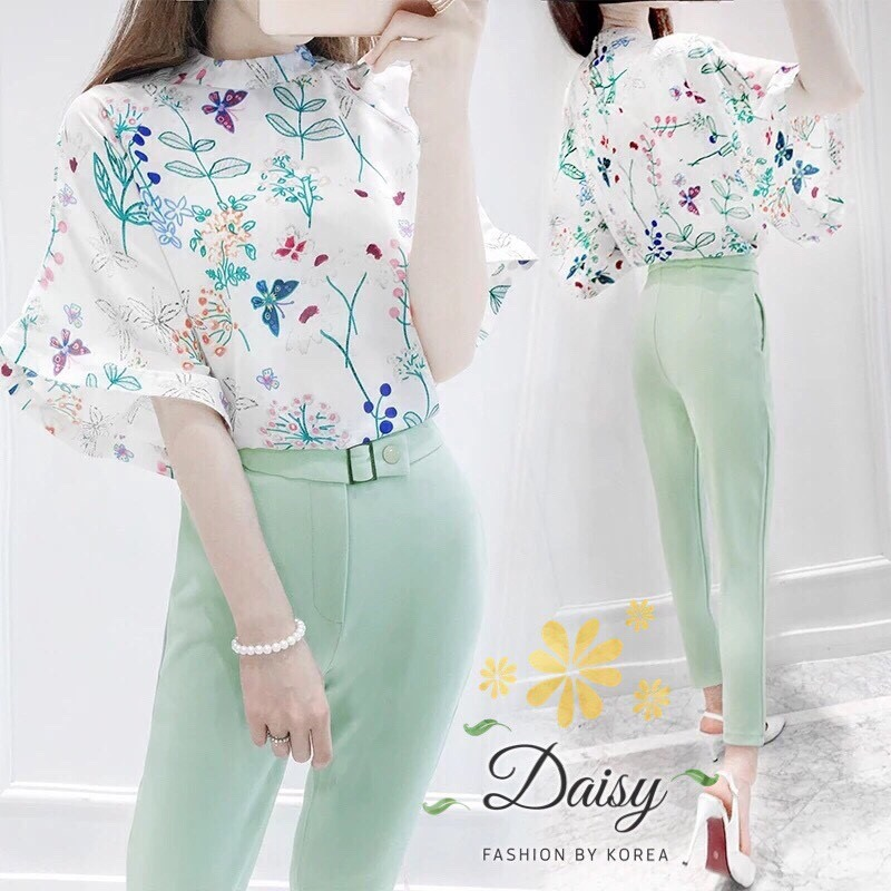 Daisy flower green chiffon dave set
