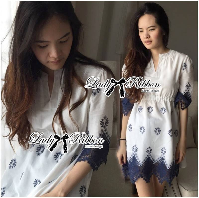 Lady Sweet Vintage Insert Lace Embroidered Cotton Dress