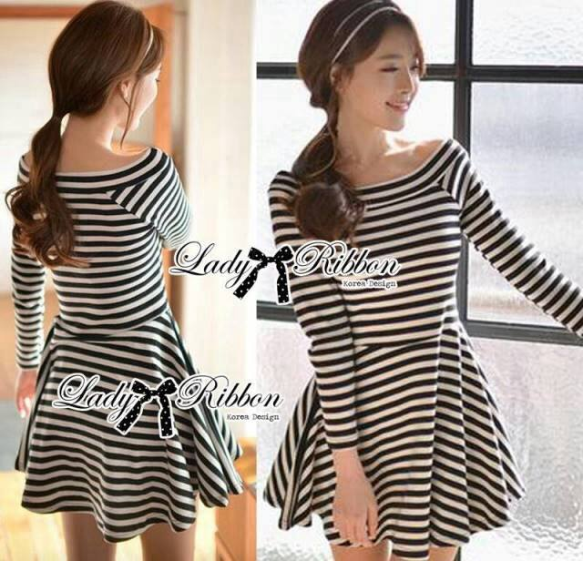 DR-LR-213 Lady Mandy Mixed Striped Easy Dress