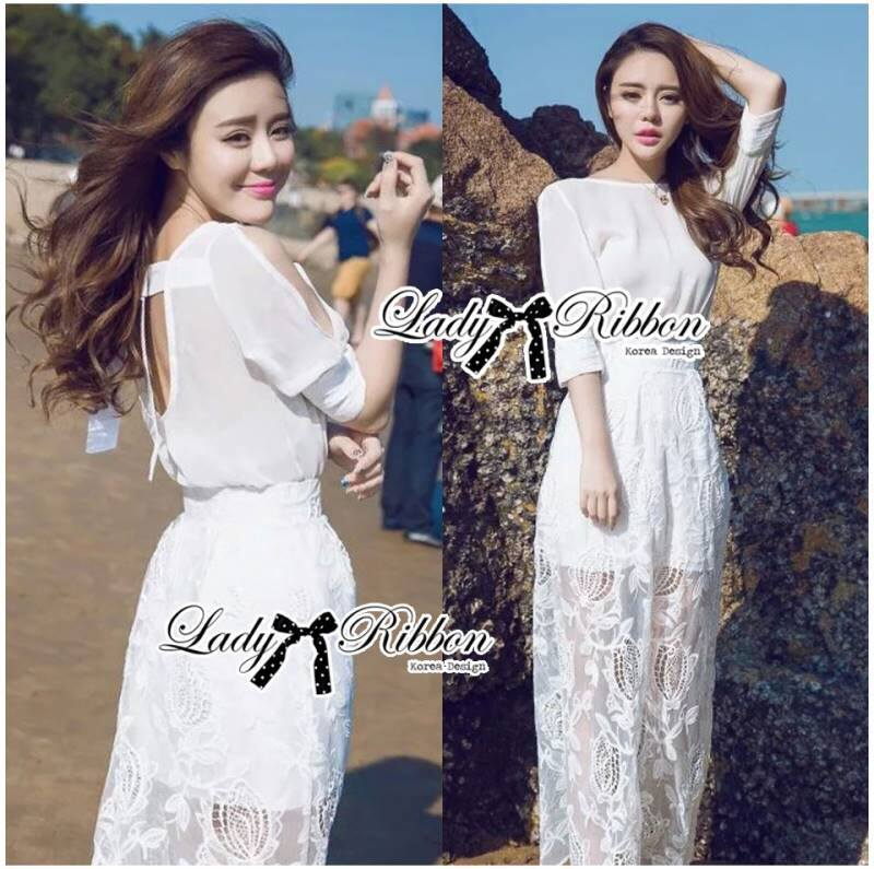 Lady Rachel White Chiffon Top and Embroidered Organza Lace Set L158-79B05
