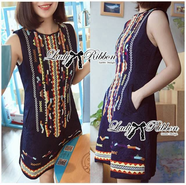 DR-LR-229 Lady Jenny Tribal Colorful Embroidered Mini Dress
