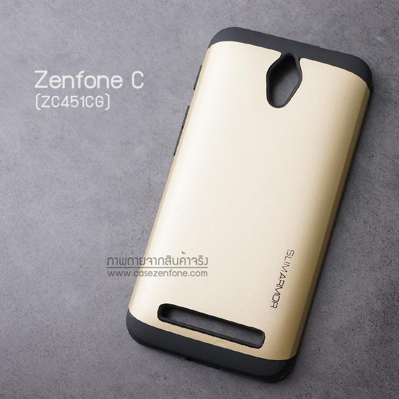 เคส Zenfone C (ZC4510CG) เคส (SLIM HYBRID BUMPER - 2ส่วน) เคสนิ่มพร้อมขอบบั๊มเปอร์ สีดำ/ทอง