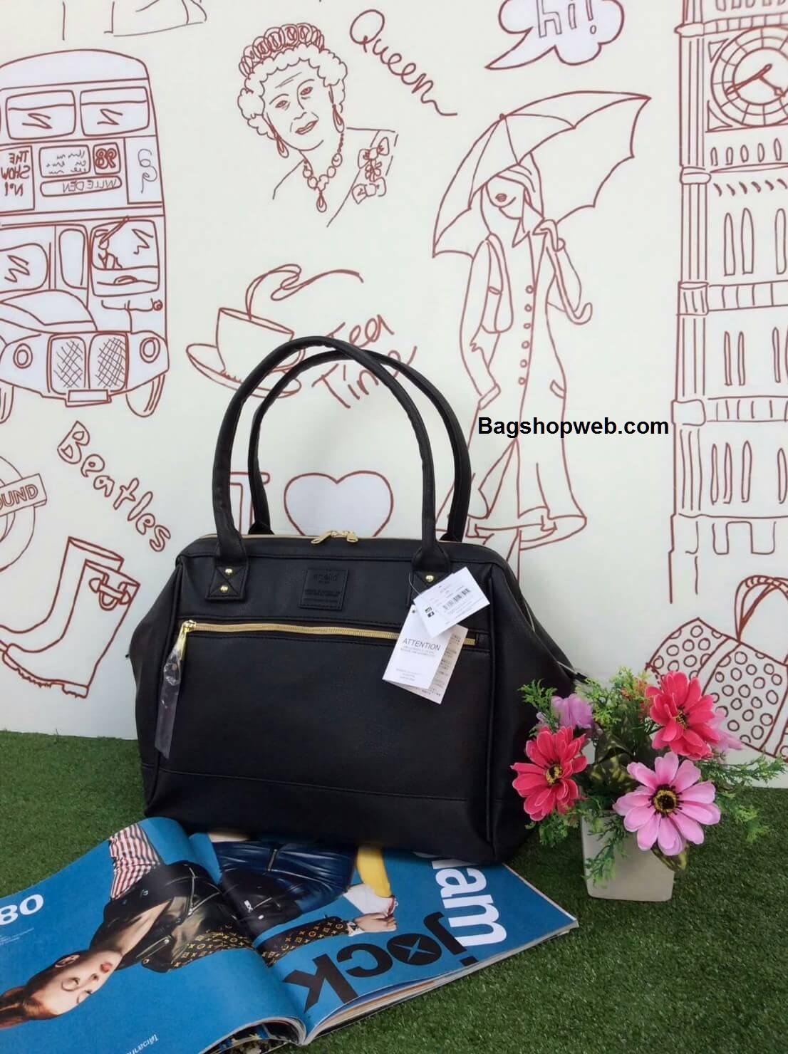 กระเป่า Anello PU Leather boston bag Black Color