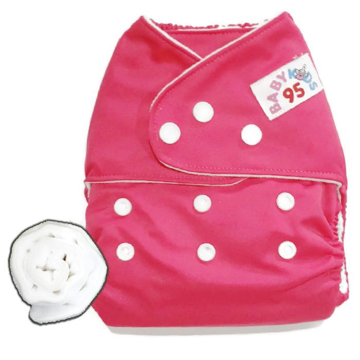 กางเกงผ้าอ้อมกันน้ำ+แผ่นซับไมโครฯหนา3ชั้น Size 3-16 kg.-Dark Pink