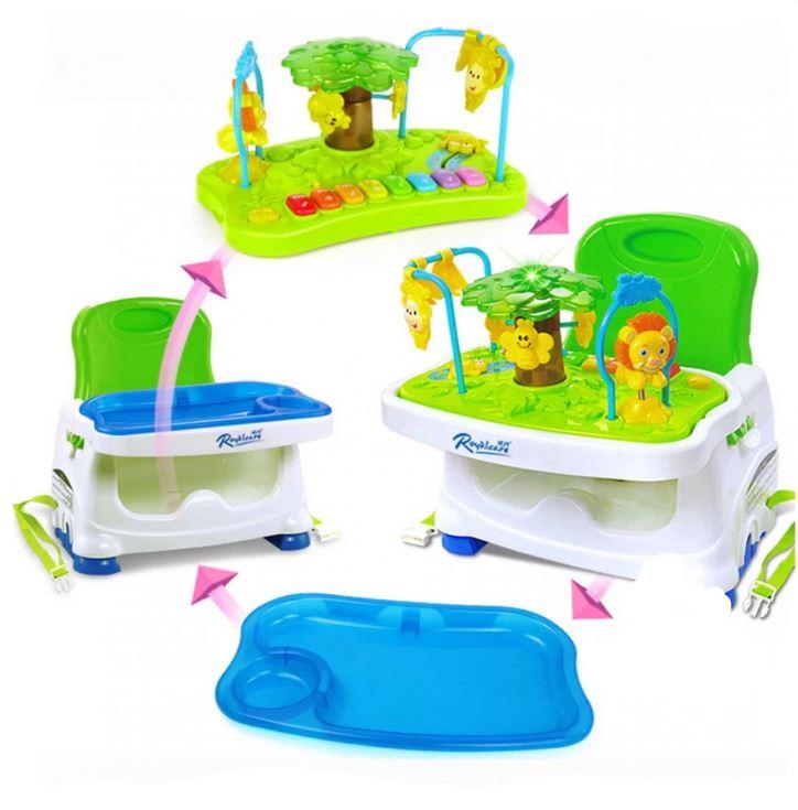 เก้าอี้ทานข้าวเด็ก Booster ขาตั้งปรับระดับได้ พกพาสะดวก RoyalCare มีของเล่น