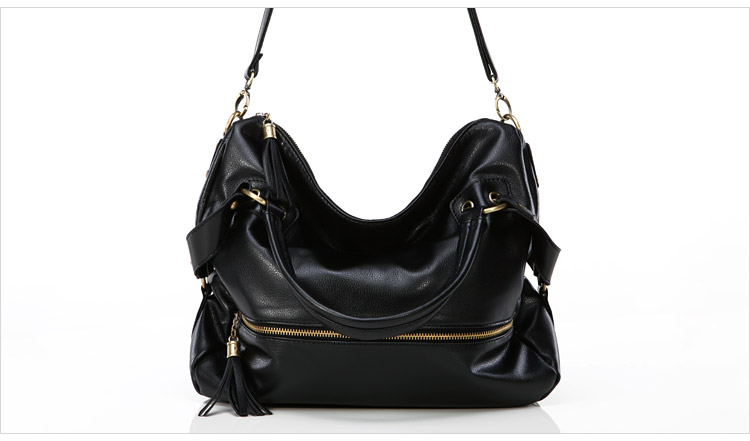 กระเป๋าสะพาย หนังนิ่ม สีดำ ตัดเย็บด้วยหนัง PU คุณภาพสูง แบบเก๋ ทนคุ้มค่ะใบนี้