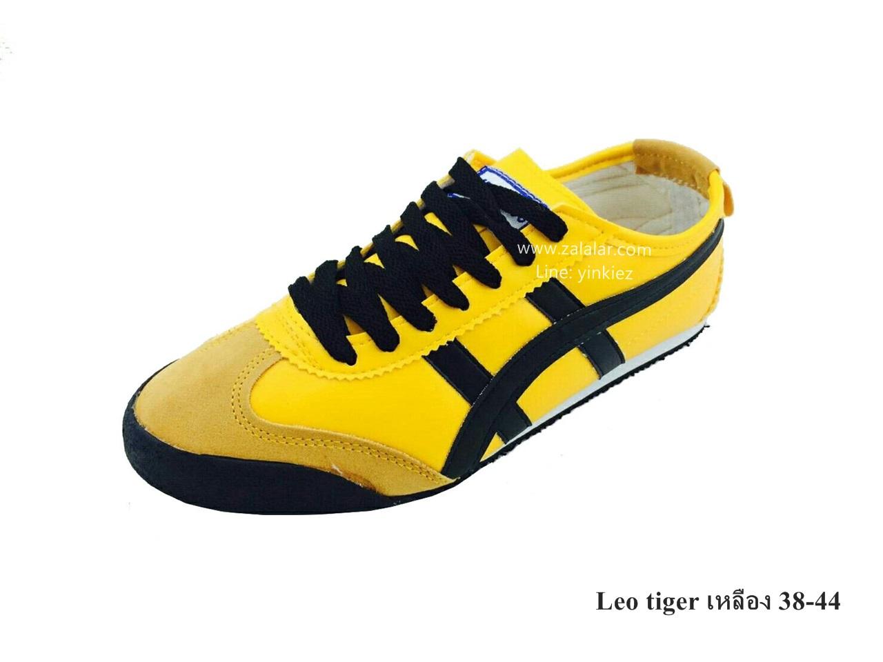 [พร้อมส่ง] รองเท้าผ้าใบแฟชั่น รุ่น Leo tiger สีเหลือง แบบหนัง