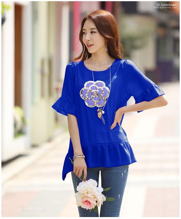 เสื้อชีฟองแฟชั่นเกาหลี สีน้ำเงิน ปักเลื่อมรูปดอกไม้ น่ารัก