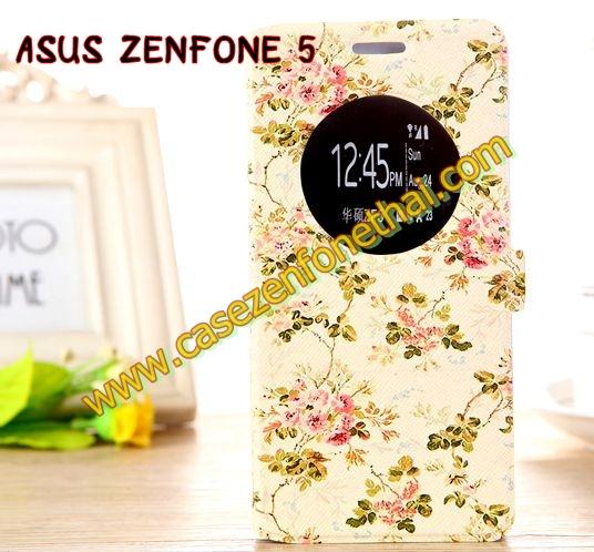 เคสzenfone 5 ฝาพับ FLIP COVER ลายดอกไม้