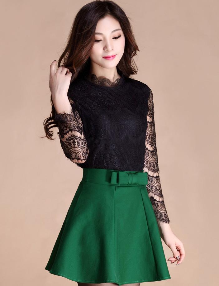 กระโปรงสั้นสีเขียวแฟชั่นเกาหลีน่ารักๆ เอวแต่งโบว์ น่ารัก