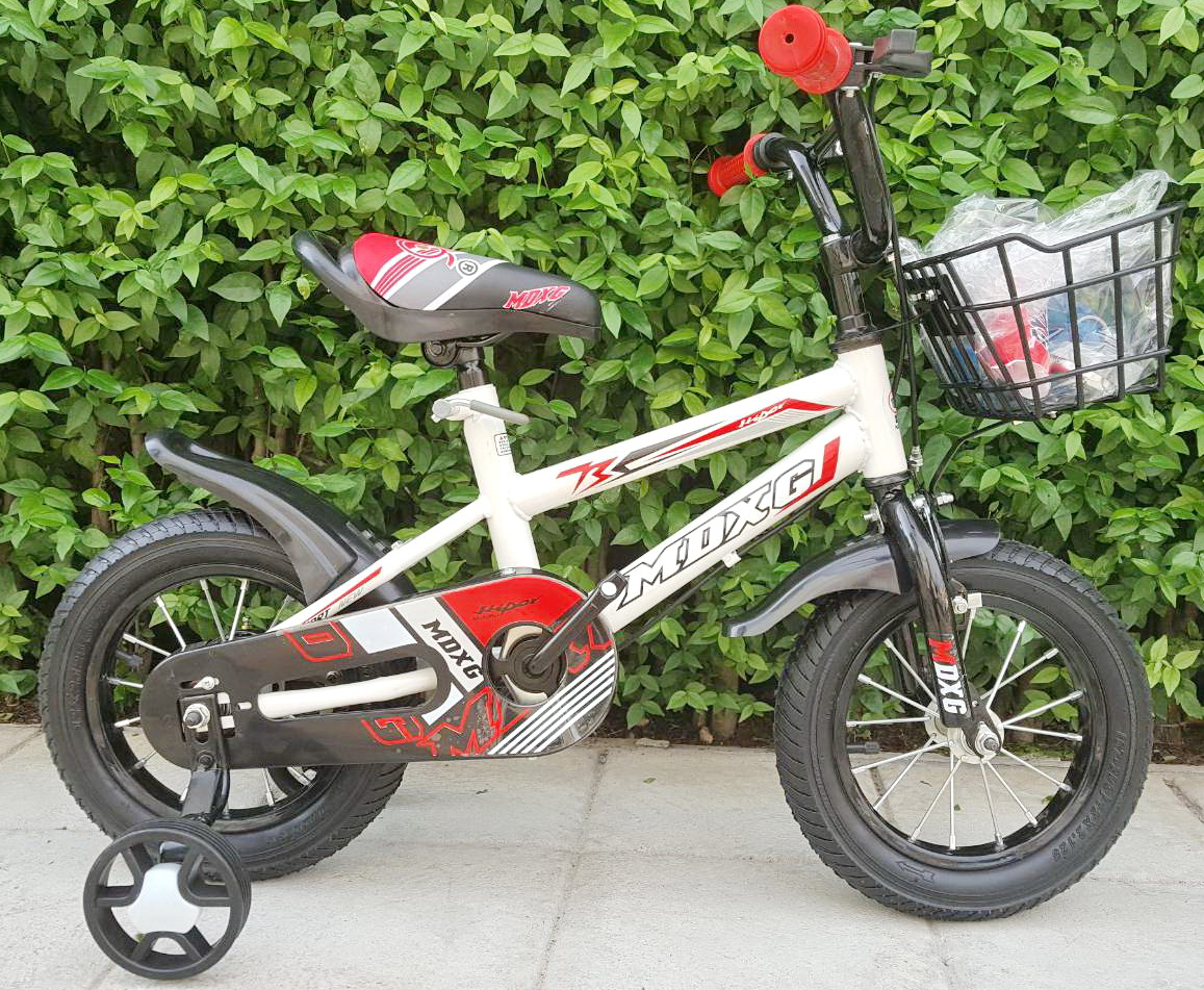 จักรยานสำหรับเด็ก Chalam เฟรมเหล็ก สีขาวแดง ล้อ 12 นิ้ว มีล้อพ่วงข้างช่วยการทรงตัว