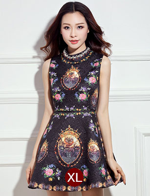 ชุดเดรสสั้นสีดำลายดอกไม้สวยหรู คอประดับคริสตรัส แขนกุด สไตล์เกาหลี ไซส์ XL
