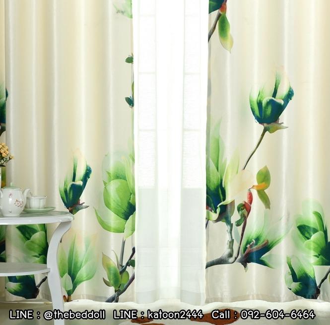 ผ้าม่านทึบ กันยูวี งาน3D ภาพดิจิตอล ลายดอกไม้