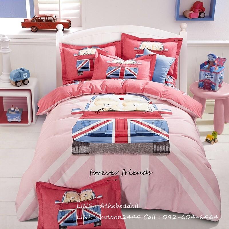 ผ้าปูที่นอนลายการ์ตูนหมีขับรถ ธงชาติอังกฤษ สีแดง