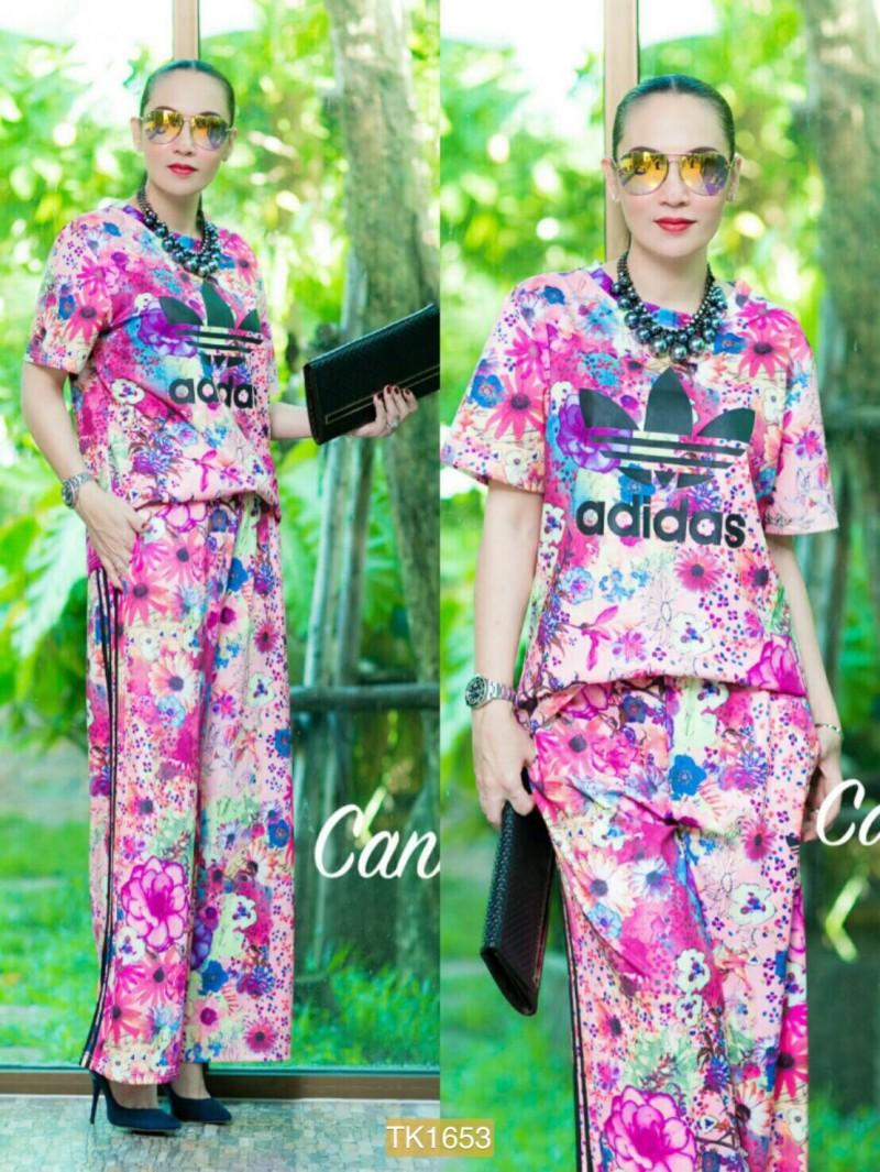 "TK1653**สีชมพู**รอบอก44"" รอบเอว38-38"" Adidas 2016 Set T-shirt and pants quality flower"