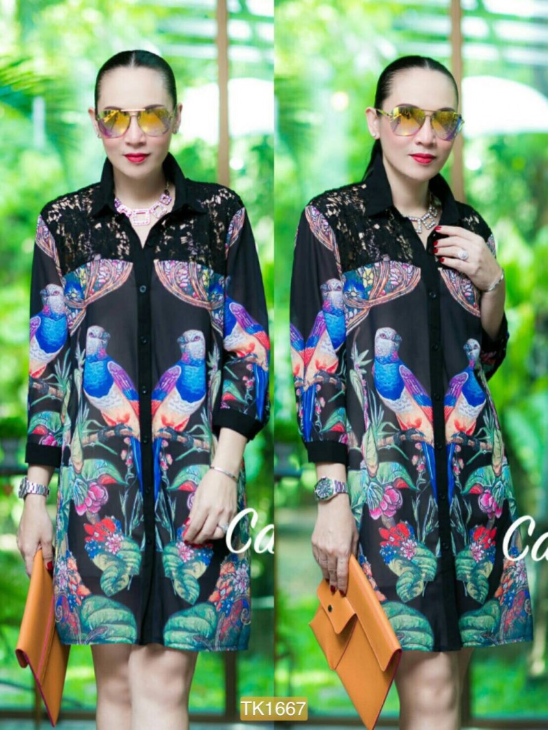 "TK1667**สีดำ**รอบอก44"" Zara shirt Oversize High quality chiffon and Lace bird flower"