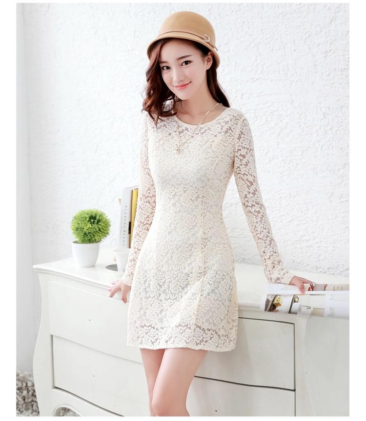 **พรีออเดอร์** ชุดเดรสผู้หญิงแฟชั่นยุโรปใหม่ แขนยาว ปักลูกไม้ แบบหวาน / **Preorder** New European Fashion Slim Luxurious Lace Stitching Long-Sleeved Dress