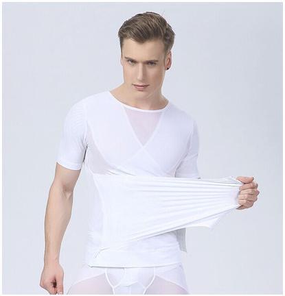 [พร้อมส่ง] เสื้อยืดกระชับสัดส่วนใส่ออกกำลังกาย น้ำหนักเบา สำหรับผู้ชายไซส์ใหญ่ ไซส์ XL - [In Stock] Abdomen Body Sculpture Lightweight Fitness Short-Sleeved T-shirt for Men size XL