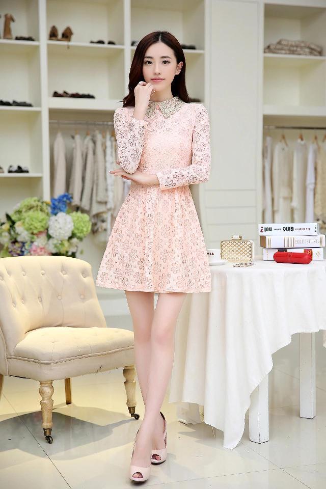 [พรีออเดอร์] ชุดเดรสลูกไม้หวานผู้หญิงแฟชั่นเกาหลีใหม่ แขนยาว แบบเก๋ เท่ห์ - [Preorder] New Korean Fashion Lace Long-Sleeve Sweety Dress