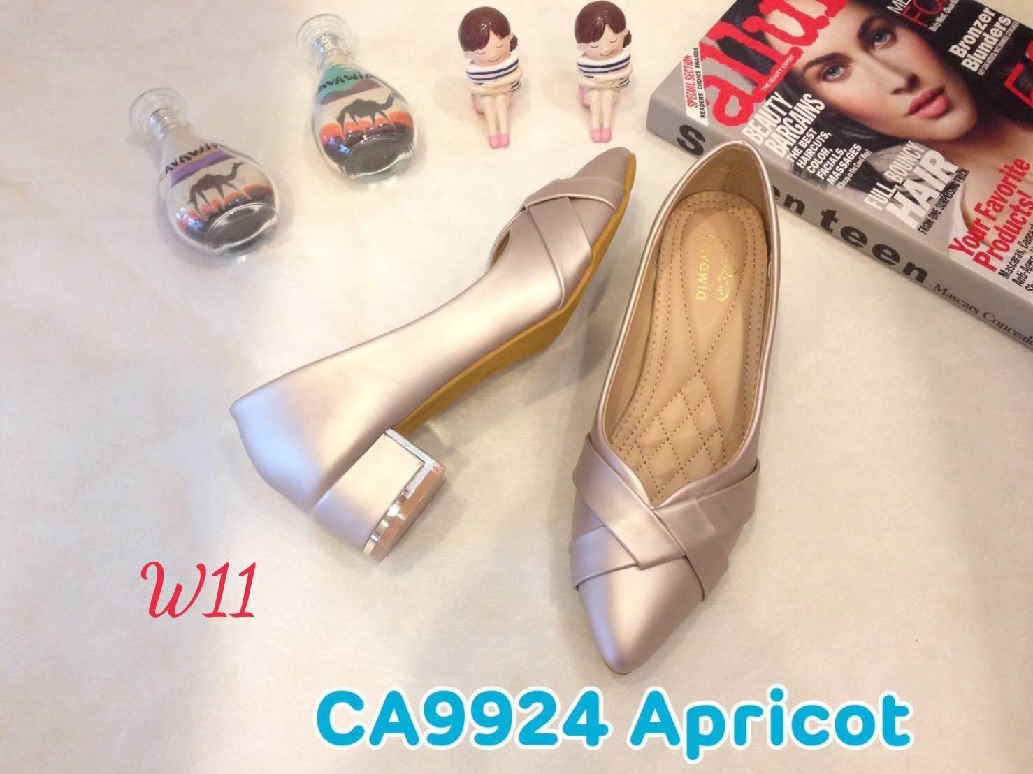 รองเท้าคัทชู ส้นเตี้ย แต่งลายไขว้ด้านหน้าสวยเก๋ หนังนิ่ม ทรงสวย ส้นสูงประมาณ 2 นิ้ว ใส่สบาย แมทสวยได้ทุกชุด (CA9924)