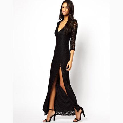 **พรีออเดอร์** ชุดเดรสผู้หญิงแฟชั่นยุโรปใหม่ แขนยาว ลูกไม้ แบบเก๋ เท่ห์ / **Preorder** New European Lace Stitching Fashion Slim Sexy Dress