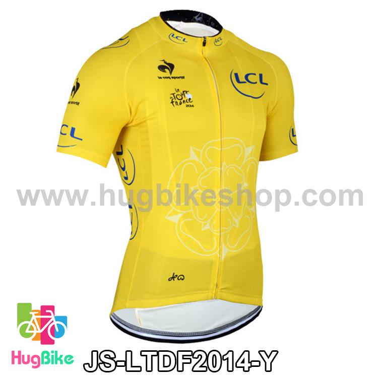 เสื้อจักรยานแขนสั้นทีม Le tour de france 2014 สีเหลือง สั่งจอง (Pre-order)