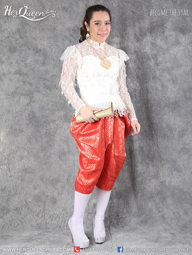 เช่าชุดไทย &#x2665 ชุดไทย ร.5 เสื้อลูกไม้ฝรั่งเศสลายนก สีขาว พร้อมโจงกระเบน