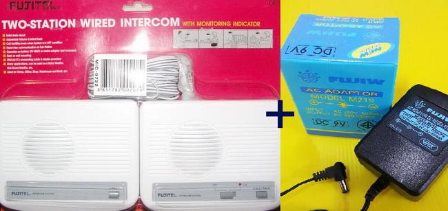 อินเตอร์คอม 2 สถานี แบบเดินสายภายใน (Fujitel-Wire) ชุด 2 เครื่อง พร้อมอแดปเตอร์ 9 โวลท์