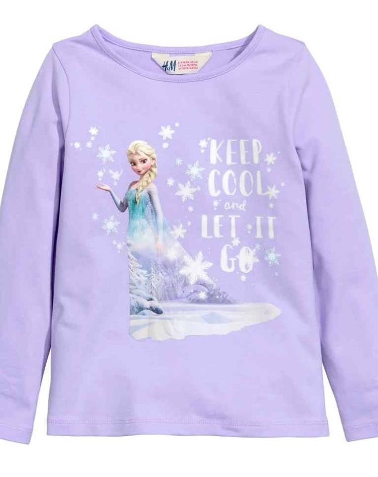 H&M : เสื้อแขนยาว เจ้าหญิงเอลซ่า Let it go สีม่วงอ่อน size : 1.5-2y