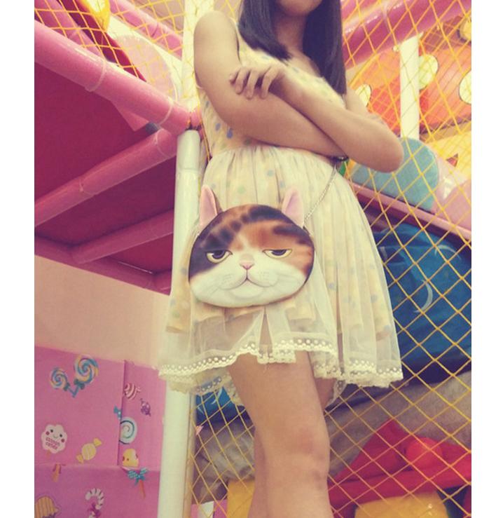 กระเป๋าสะพายโซ่น้องแมว 3มิติ